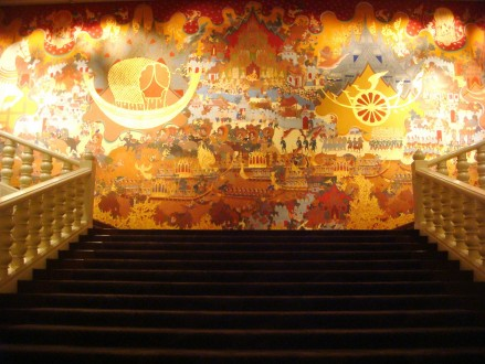 Large traditional silk panel at the grand staircase in the lobby