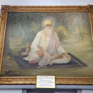 Inside the Gurdwara, a frame of Guru Nanak