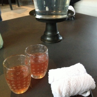 Welcome drink & cold towel