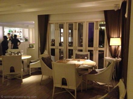 Warm and white restaurant interior