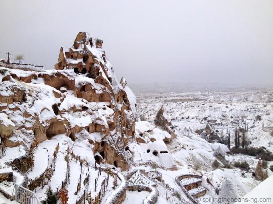 White - Snow-covered Cappadocia, Turkey