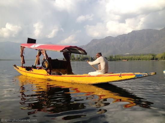 Yellow Shikara on Dal Lake - Srinagar, Kashmir, India
