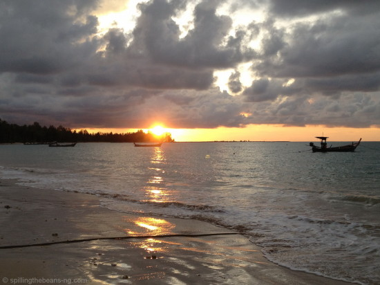 An amazing sunset on a beach in Khao Lak