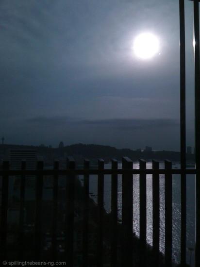 Silver sun on a gloomy day in Pattaya