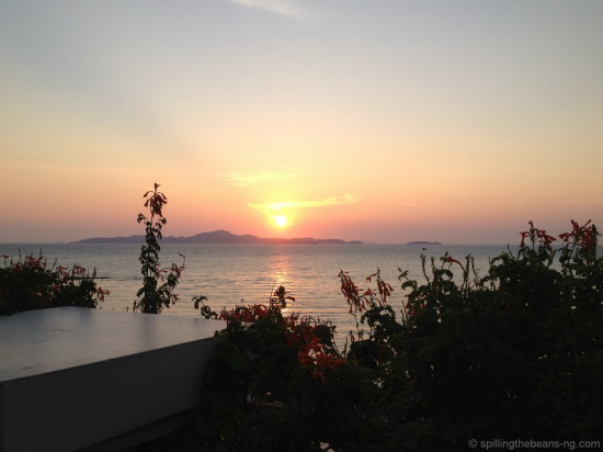 Sun setting over Koh Larn in Pattaya
