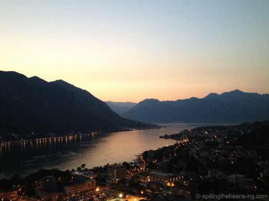 Kotor Bay from St. Ivan's Fortress at dusk, Montenegro