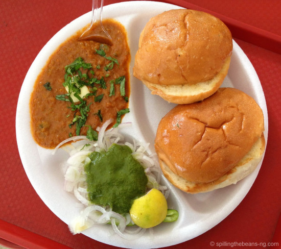 Pav Bhaji (Bread + a potato based curry) - a yummy snack with origins in Mumbai