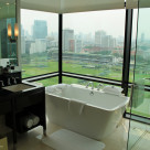 Impressive bathroom with sweepings views