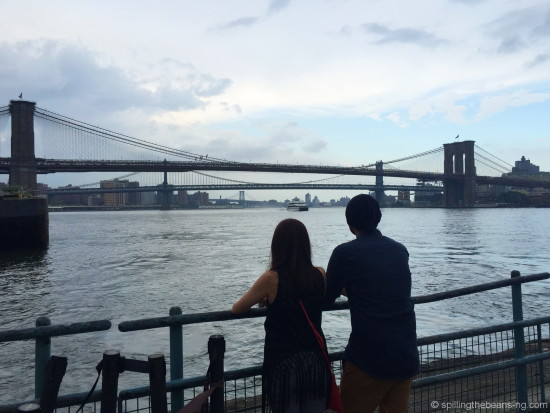 Looking out at the Brooklyn Bridge