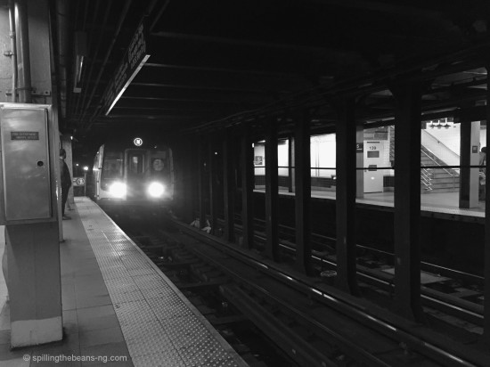 A black and white shot of the subway - another New York icon