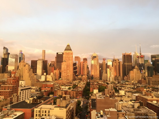 New York skyline during golden hour