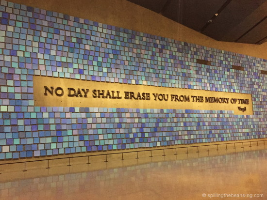 Art installation inside September 11 Memorial - Squares in different shades of blue