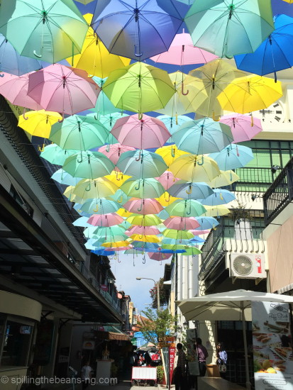 Colorful umbrellas at the Maharaj Pier in Bangkok