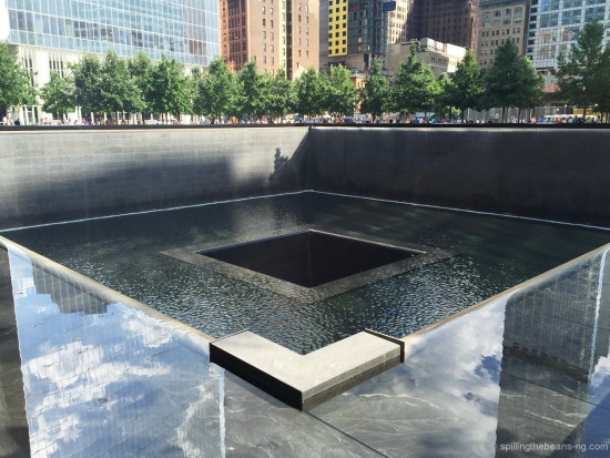 One of the reflecting pools at One World Trade