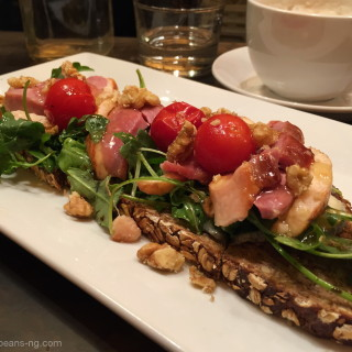 Smoked duck, tomato, walnut and honey open face sandwich at Tartinery