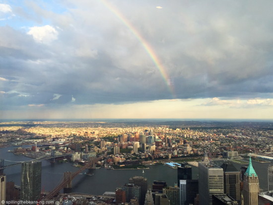 Beautiful rainbow over Brooklyn (seen from One World Observatory)