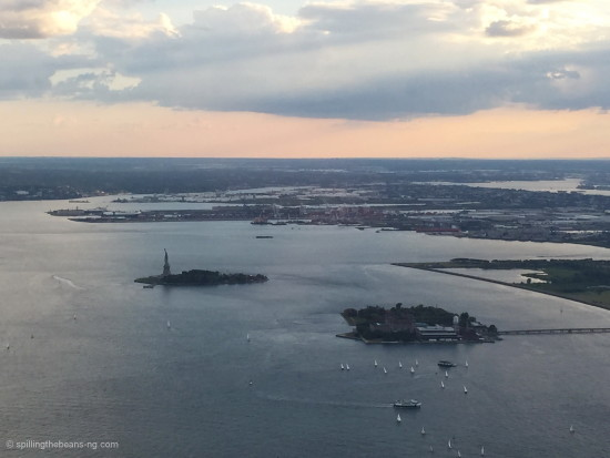 A glimpse of the Statue of Liberty from One World Observatory